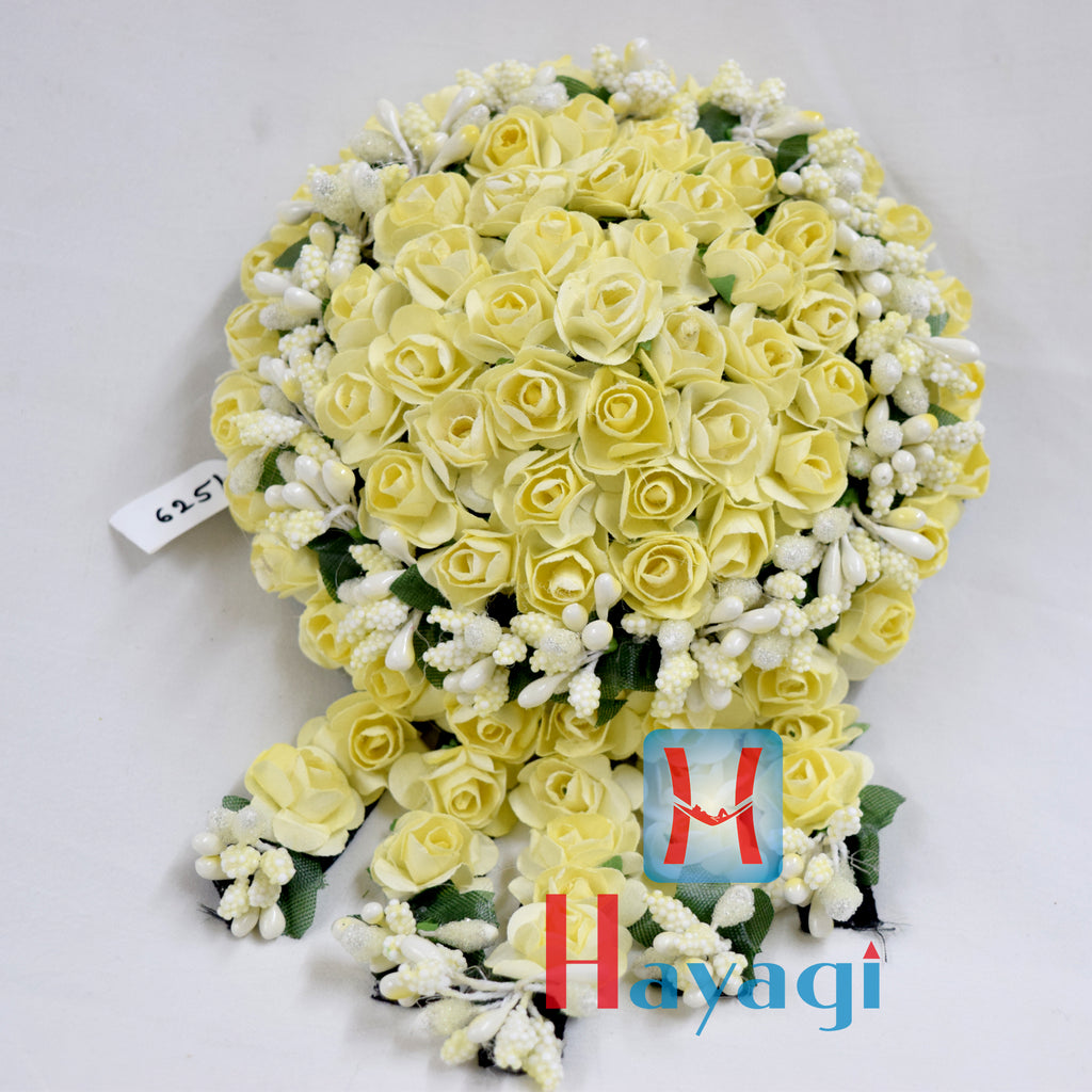 Beautiful Yellow White Rose Flowers Hair Bun Ambada_Hayagi(Pune)