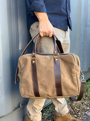 The Memphis Satchel | Brown Waxed Canvas and Horween Leather