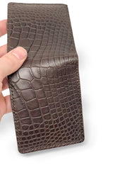 Handmade Leather Wallet |  Bifold | Brown Alligator and Horween Leather