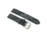 Premium Strap with Suede Charcoal Ostrich Leather