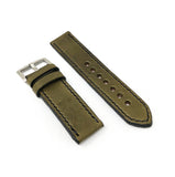 """Calhoun"" Premium Watch Strap with Olive Green Vegetable Tanned Leather"