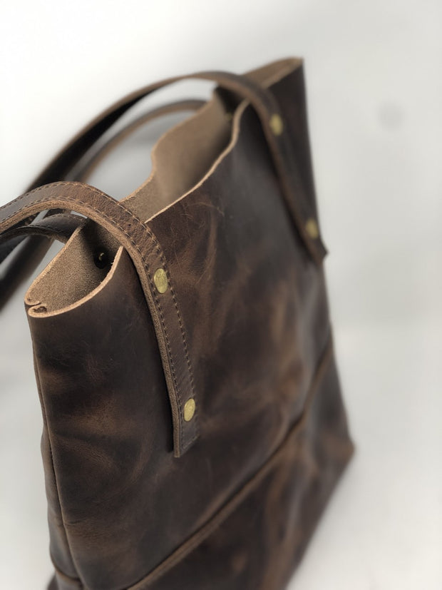 Peyton Tote in Horween Chestnut Dublin Leather