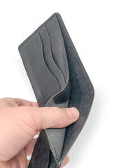 Handmade Leather Wallet |  Bifold | Suede Black Ostrich Leg