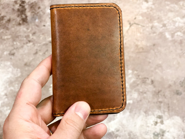 Handmade Leather Wallet |  Vertical | Horween English Tan Dublin