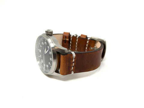 Premium Aviator Strap in Horween English Tan Dublin