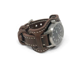 Premium Aviator Bund Strap in Horween Dark Brown Chromexcel