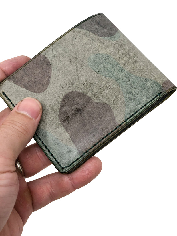 Handmade Leather Wallet |  Bifold | Olive Ghost Camo