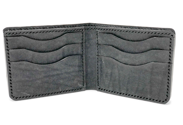 Handmade Leather Wallet |  Bifold | Black Quill Ostrich