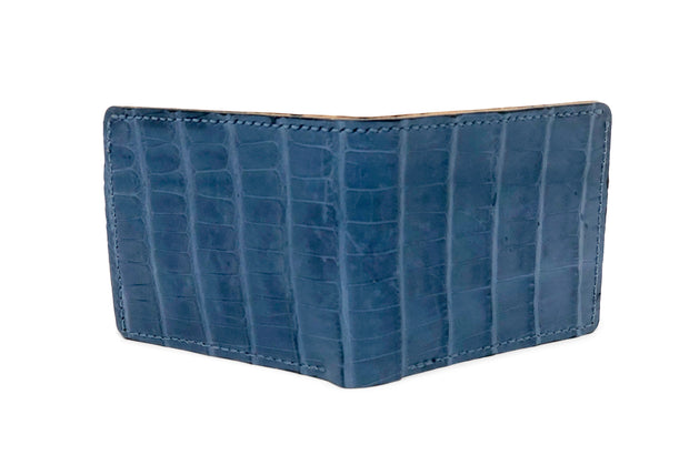 Handmade Leather Wallet |  Bifold | Indigo Alligator