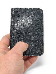 Handmade Leather Wallet |  Vertical | Black Stingray