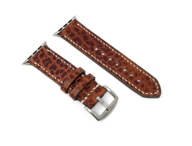 Premium Apple Watch Strap with Cognac American Bison