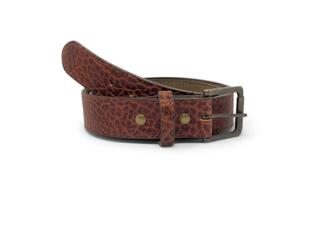 Handmade Leather Belt | American Shrunken Bison | Cognac