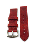 """Calhoun"" Premium Watch Strap with Italian Veg Tan Distressed Red"