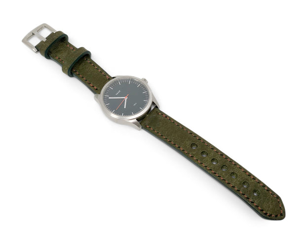 """Calhoun"" Premium Watch Strap with Olive Green Badalassi Leather"