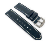 """Calhoun"" Premium Watch Strap with Horween Navy Chromexcel"