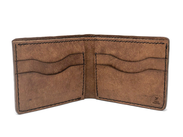 Handmade Leather Wallet |  Bifold | Brown Stingray