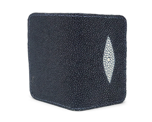 Handmade Leather Wallet |  Vertical | Navy Blue Stingray