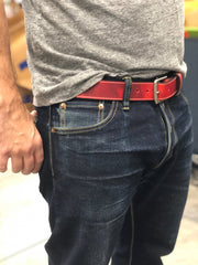 Handmade Leather Belt | Distressed Red Leather