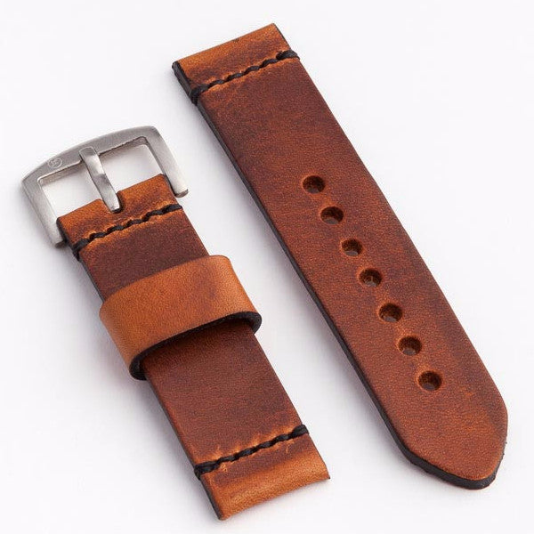Premium Lug Stitched Watch Strap with English Tan Dublin Leather