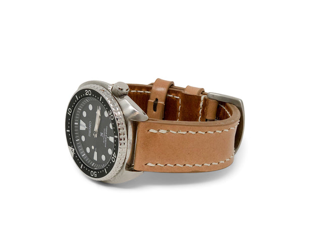 """Calhoun"" Premium Watch Strap with Natural Shell Cordovan"