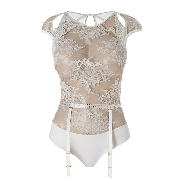 Body dentelle transparent blanc Nadya
