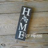 Home with Checkered Flag Scrappy Wood Sign