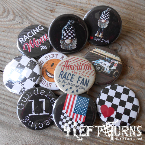 Large Two Inch Racing Themed Buttons, Bottle Openers, Mirrors and Magnets
