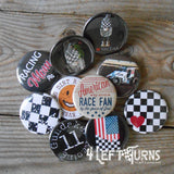Custom Race Team Buttons, Bottle Openers, Mirrors and Magnets