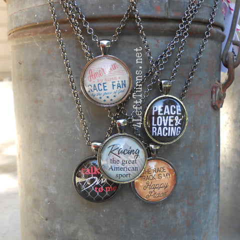 Racing Themed Necklaces, racing jewelry, racing quotes, 4 Left Turns