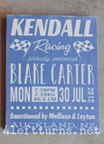 Racing-Themed Baby Announcement Hand Painted Wood Sign - Wood Sign - 4 Left Turns - 9