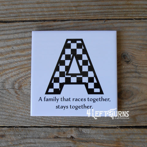 Individual Custom Initial Racing Themed Beverage Coaster with Stand