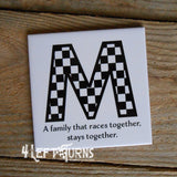 Custom Initial Racing Themed Beverage Coasters