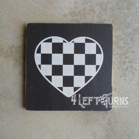 Checkered Heart Painted Wood Sign