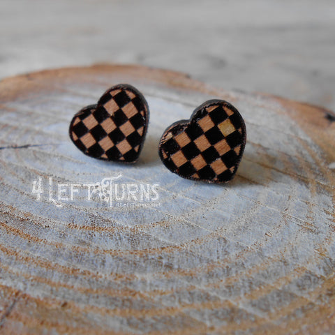 Wooden Checkered Heart Pierced Post Earrings