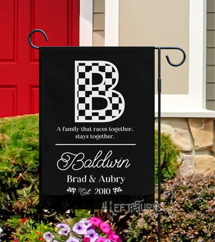 Personalized Custom Family Garden Flag with Checkered Initial