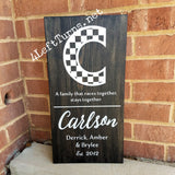 Personalized Checkered Initial Family Painted Wood Sign