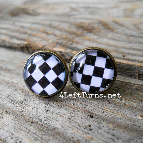 Black and White Checked Pierced Earrings
