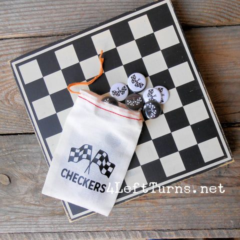 Painted Wood Checkered Flag Checkers Game