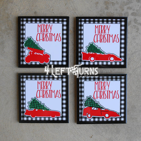 Christmas Themed Racing Beverage Coaster with Stand