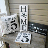 Home with Checkered Flag Wood Sign