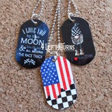 Dog Tag Style Racing Themed Necklace or Key Fob
