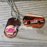 Custom Photo Personalized Dog Tag Style Racing Themed Necklaces