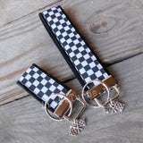 Checkered Key Fob with Checkered Flag Charm