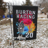 Custom Personalized Racing Garden Flag with Gnome