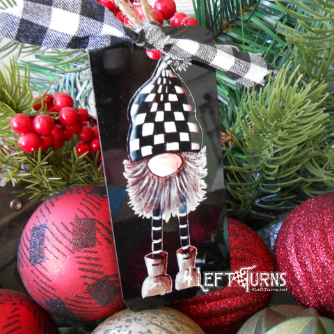 Raised On Dirt Tracks Checkers the Gnome Christmas Ornament