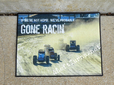 If We're Not Here We've Probably Gone Racing Welcome Mat
