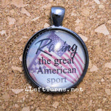 Racing the Great American Sport Necklace, Racing Jewelry, 4 Left Turns