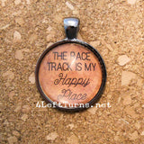 Race Track is my Happy Place Necklace, Racing Jewelry, 4 Left Turns