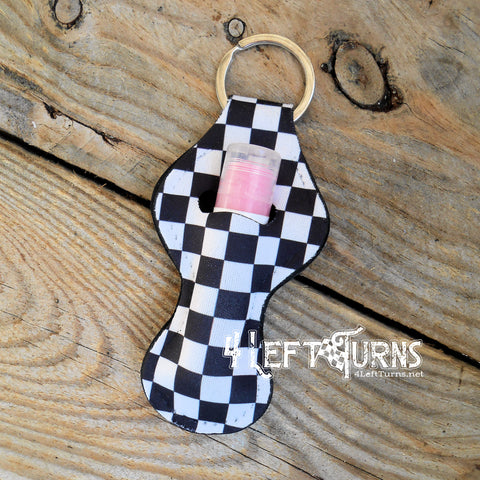 Checkered Lip Balm Holder Key Ring