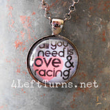 All You Need is Love and Racing Necklace, Racing Jewelry, 4 Left Turns